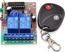 2 gomb távirányító és 2 csatornás vevő modul, relés, mono, M