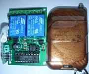 2 gombos (kapu) távirányító és 2 csatornás vevő modul, relés