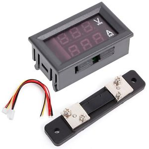 0-100V/50A Blue Red Digital Voltmeter Ammeter 2in1 DC Volt Amp Meter W/ Shunt
