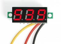 Mini Digital Voltmeter DC 0-100V LED Panel Voltage Meter 3-Digital With 3 Wires