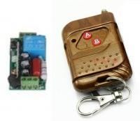 2 gombos távirányító(be/ki gomb)és 1 csatornás vevő modul, relés