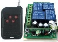 4 gombos (kapu) távirányító és 4 csatornás vevő modul, relés (1db távirányítóval), tanuló kódos