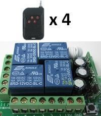 4 gombos (kapu) távirányító és 4 csatornás vevő modul, relés (4db távirányítóval)
